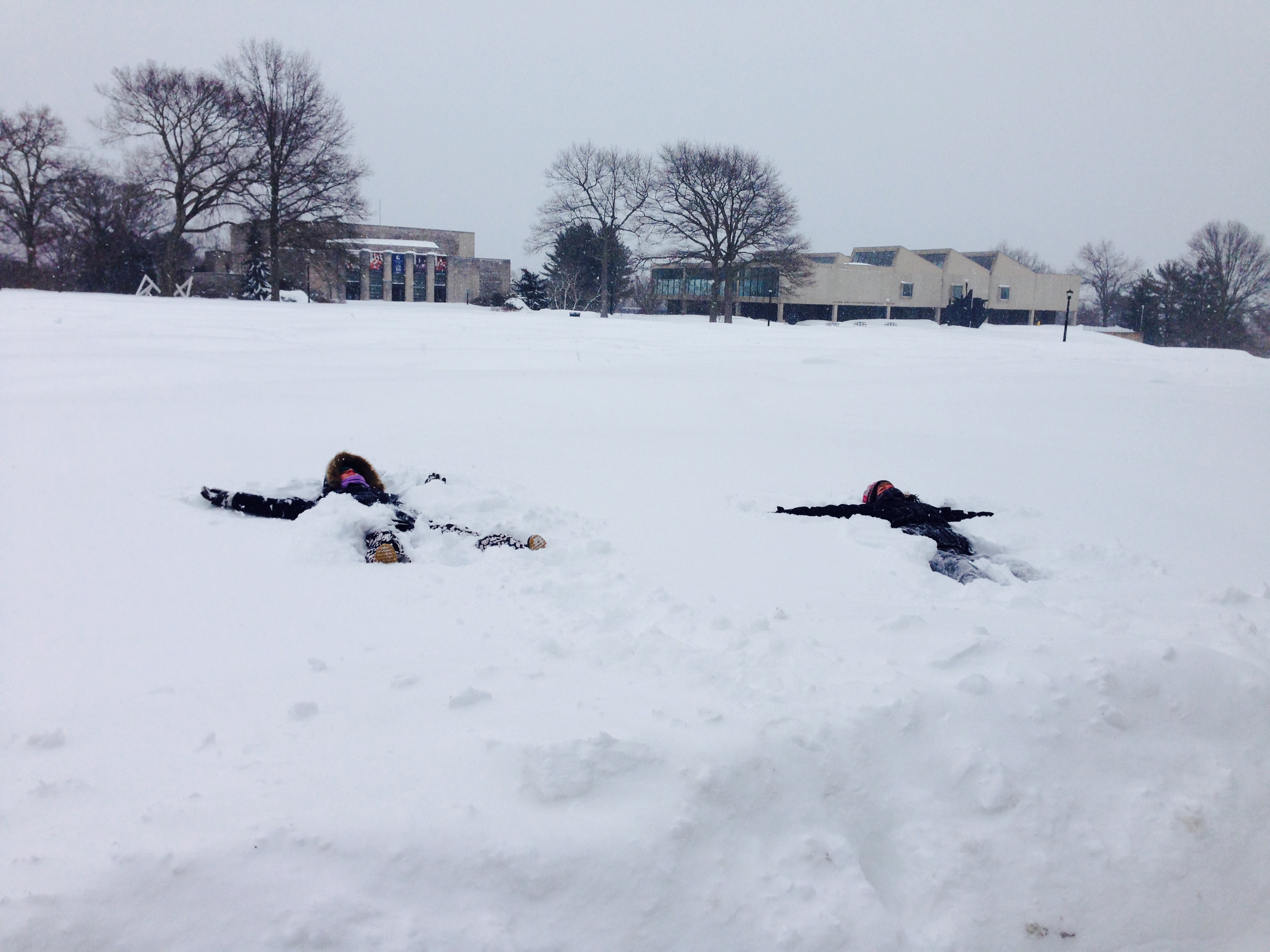 Snow angels in a blizzard