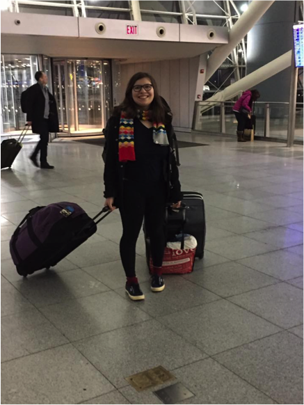 Julia Kaback poses in JFK while awaiting her flight to Israel.