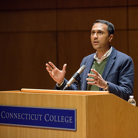 Internationally renowned author and speaker Eboo Patel speaks at Connecticut College April 25.